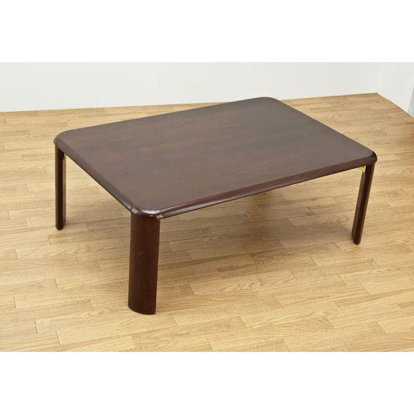 NEWウッディーテーブル/折りたたみローテーブル 【長方形 90cm×60cm】 ブラウン 木製 【完成品】