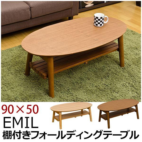ローテーブル通販 90cm×50cm ローテーブル『折りたたみローテーブル/棚付きフォールディングテーブル(EMIL) 【90cm×50cm】』