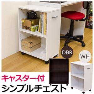 シンプルチェスト/カラーボックス 【2段】 可動棚/取っ手/キャスター付き ダークブラウン