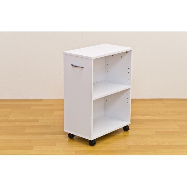 シンプルチェスト/カラーボックス 【2段】 可動棚/取っ手/キャスター付き ホワイト