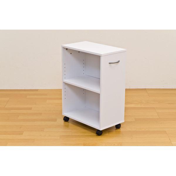 デスクサイドで役立つ「シンプルチェスト/カラーボックス 【2段】 可動棚/取っ手/キャスター付き ホワイト(白)」