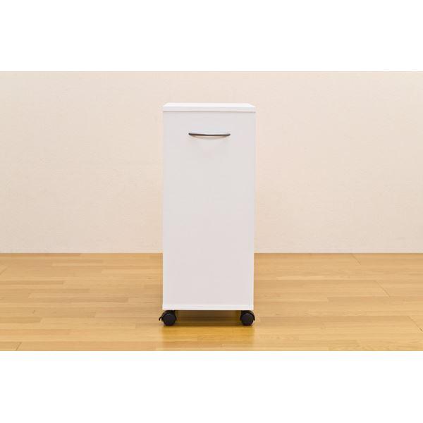 シンプルチェスト/カラーボックス 【2段】 可動棚/取っ手/キャスター付き ホワイト(白)