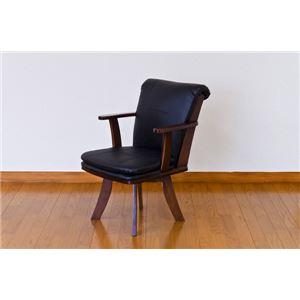 ダイニングチェア(回転椅子/リビングチェア) 木製 張地:合成皮革/合皮 肘付き Coventry ブラウン - 拡大画像