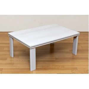 折りたたみカジュアルこたつテーブル 本体 【長方形/90cm×60cm】 ホワイト(白) 木製 リバーシブル天板 折れ脚 - 拡大画像