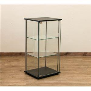 強化ガラス製コレクションケース 【3段】 幅42.5cm 飛散防止加工 4面ガラス張り ブラック(黒) - 拡大画像