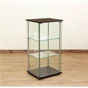 強化ガラス製コレクションケース 【3段】 幅42.5cm 飛散防止加工 4面ガラス張り ダークブラウン