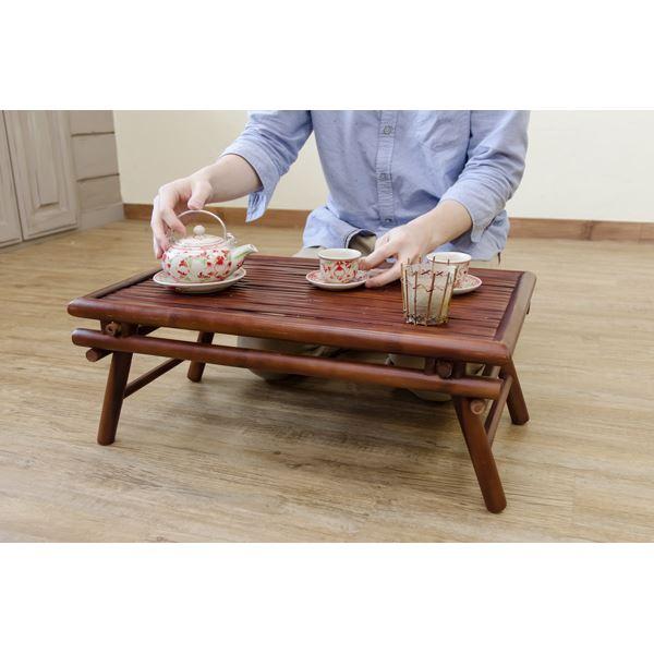バンブー材折りたたみテーブル/ミニテーブル 【長方形/幅60cm】 アジアンテイスト 脚開き防止ストッパー付き 【完成品】