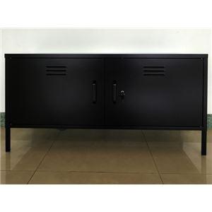 テレビラック(テレビ台/テレビボード) 鍵付き 【幅115cm】 ブラック 『REITZ』 可動棚付き スチール製 - 拡大画像