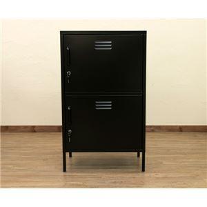 2ドアキャビネット/多目的ロッカー 【幅60cm】 ブラック 『REITZ』 鍵/可動棚付き スチール製 - 拡大画像