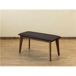 木目調ダイニングベンチ/食卓椅子 【ウォールナット】 木製脚 張地:合成皮革/合皮 『VELA』