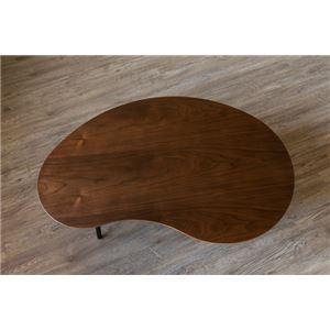 棚付き折れ脚テーブル/折りたたみローテーブル 【ビーンズ型 幅84cm ウォールナット】 棚板取り外し可 『Luster』 木目調 【完成品】