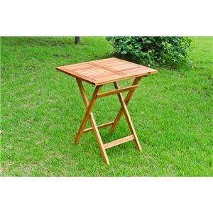 アカシア製スクエアテーブル/ガーデンテーブル 【正方形 幅60cm】 木製 折りたたみ可 角形 ブラウン 【完成品】