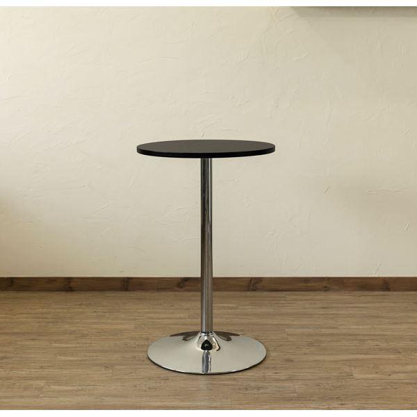 ラウンドバーテーブル/ハイテーブル 【円形 直径55cm】 ブラック スチールフレーム 〔ディスプレイ家具 什器 インテリア〕