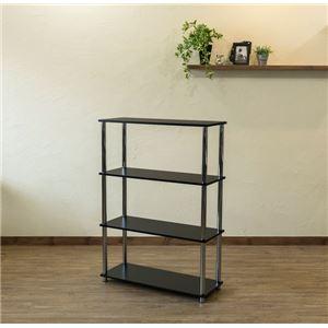Simple 収納ラック/収納棚 【幅80cm 4段】 ブラック 〔キッチン収納 リビング収納 ディスプレイ家具 什器〕 - 拡大画像