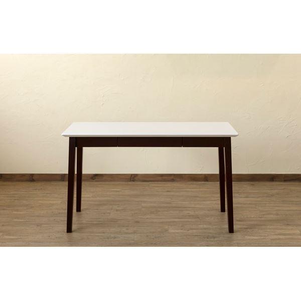 【在庫処分品】引き出し付きテーブル/パソコンデスク 【幅120cm×奥行45cm】 ホワイトウォッシュ 木脚 『Amelia』