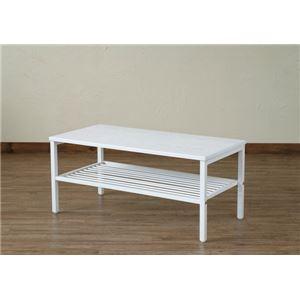 Freyia 棚付きセンターテーブル WH ホワイト