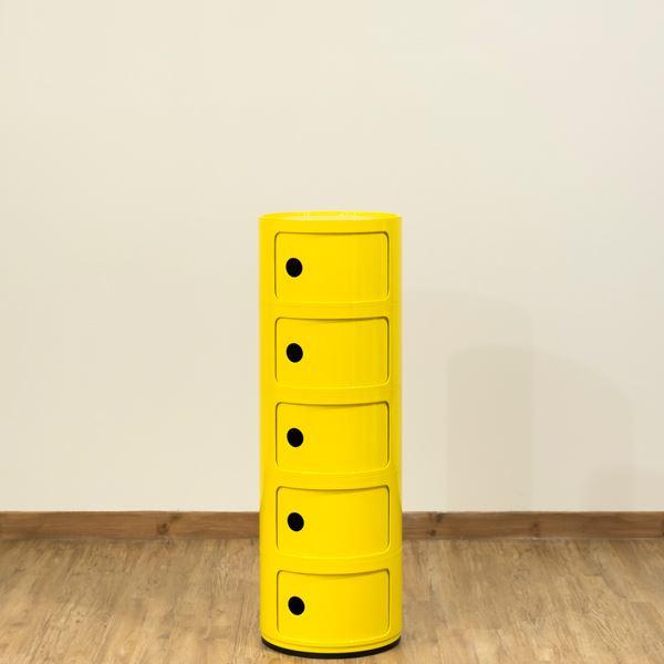 シンプルでおしゃれな収納チェストの「多用途 ラウンドチェスト/キッチン収納 【5段 イエロー】 幅32cm 重さ5.5kg 扉付 ABS樹脂 『コンポニビリ』 〔台所 ダイニング〕」