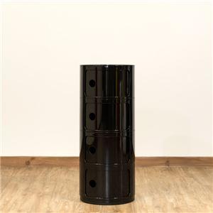 多用途 ラウンドチェスト/キッチン収納 【4段 ブラック】 幅32cm 重さ5.5kg 扉付 ABS樹脂 『コンポニビリ』 〔台所 ダイニング〕