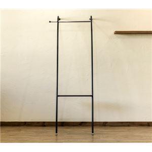 ウォールスタンドハンガー/コートハンガー 【ブラック】 幅66cm スチール 棚板1枚 アジャスター付き 〔リビング 玄関〕
