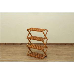 アカシア 折り畳みラック 4段 ワイド幅60cm ブラウン (BR) - 拡大画像