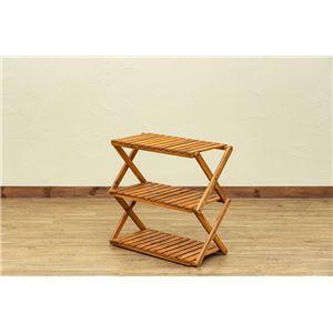 アカシア 折り畳みラック 3段 ワイド幅60cm ブラウン (BR) - 拡大画像