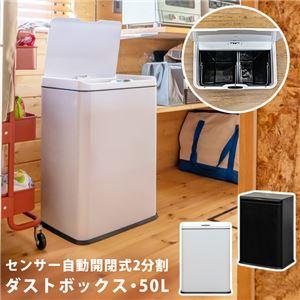 センサー自動開閉式 2分別 ダストボックス 50L ホワイト(WH)