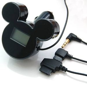 ミッキーシルエットのFMトランスミッター iMusic (ブラック) RX-DNYFMBK - 拡大画像