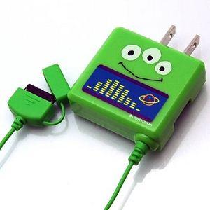 Rix(リックス) ディズニー (Disney) 家庭コンセント (AC) 充電器 au対応 (エイリアン) RX-DNY418LGM 【2個セット】 - 拡大画像