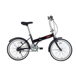 ZERO-ONE 20インチ折りたたみ自転車FDB20 LEDライト・ワイヤ‐ロック付 ブラック - 拡大画像