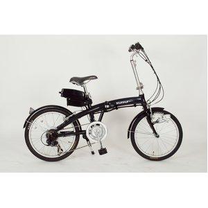 20インチ6段ギア付アシスト折りたたみ自転車(ブラック) - 拡大画像