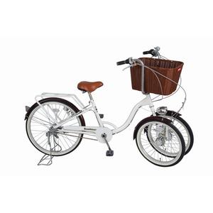 3段変速 三輪自転車 【バスケット付き】 前輪20インチ/後輪24インチ ホワイト スチール 『Bambina』 - 拡大画像