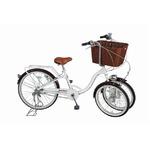 3段変速 三輪自転車 【バスケット付き】 前輪20インチ/後輪24インチ ホワイト スチール 『Bambina』