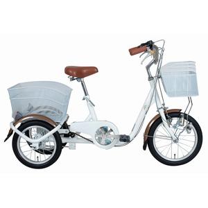スイング機能 三輪自転車 【ロータイプ ホワイト】 前16インチ/後14インチ スチール 『SWING CHARLIE』 〔買い物〕 - 拡大画像