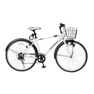 シボレー製 クロスバイク 【ホワイト】 6段ギア 700C スチール 『CHEVROLET』 〔ショッピング 通勤 通学〕