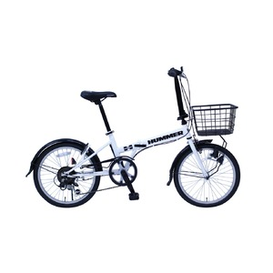 ハマー製 折りたたみ自転車 【かご付き 6段ギア ホワイト】20インチ スチール 『HUMMER』 〔通勤 通学〕 - 拡大画像