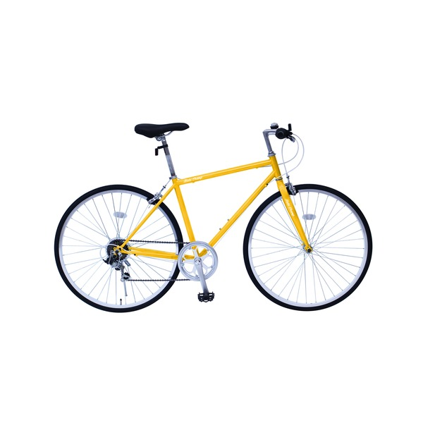 6段変速 クロスバイク 【イエロー】 700C スチール 幅169cm×奥行53cm×高さ100cm サドル83cm〜101cm 重量17kg 『FIELD CHAMP』