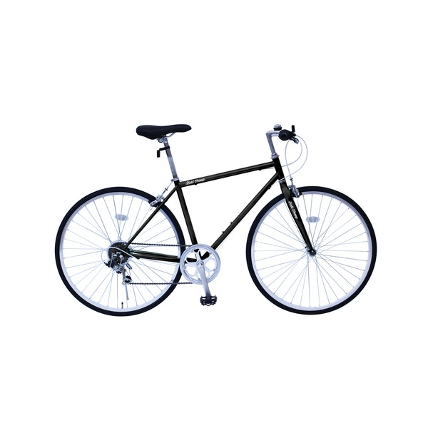 6段変速 クロスバイク 【ブラック】 700C スチール 幅169cm×奥行53cm×高さ100cm サドル83cm〜101cm 重量17kg 『FIELD CHAMP』