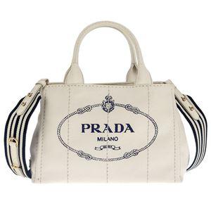 Prada (プラダ) 1BG439 CANAPA ROO/BIANCO/BLU 手提げバッグ