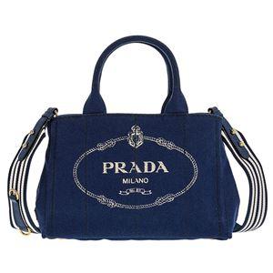 Prada (プラダ) 1BG439 CANAPA ROO/BLUETTE/TALC 手提げバッグ