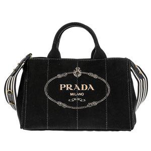 Prada (プラダ) 1BG642 CANAPA ROO/NERO/TALCO 手提げバッグ
