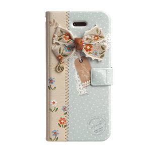 Happymori iPhone5/5s エンブロイダードリボンダイアリー ブルー