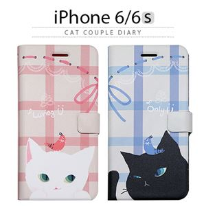 Happymori iPhone 6/6s Cat Couple Diary ブラック - 拡大画像
