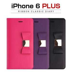 Layblock iPhone 6 Plus Ribbon Classic Diary ホットピンク - 拡大画像