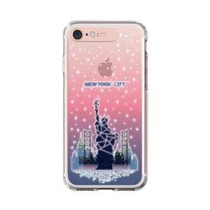 LIGHT UP CASE iPhone 8 / 7 Soft Lighting Clear Case Landmark New York A (ローズゴールド)