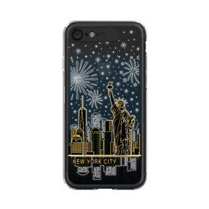 LIGHT UP CASE iPhone 8 / 7 Soft Lighting Clear Case Landmark New York B (ブラック)