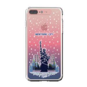 LIGHT UP CASE iPhone 8 Plus / 7 Plus Soft Lighting Clear Case Landmark New York A (ローズゴールド)