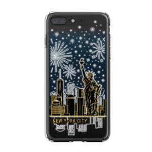 LIGHT UP CASE iPhone 8 Plus / 7 Plus Soft Lighting Clear Case Landmark New York B (ブラック)