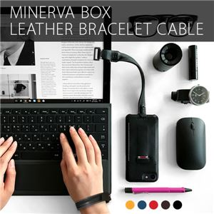 SLG Design Minerva Box Leather Bracelet Cable ブルー - 拡大画像