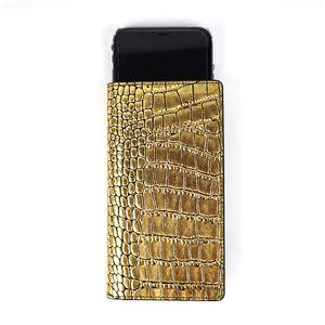 GAZE 多機種対応スライド式 手帳型ケース Gold Croco Diary Mサイズ - 拡大画像