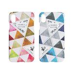 Happymori iPhone XR Triangle Pattern Bar ブルー